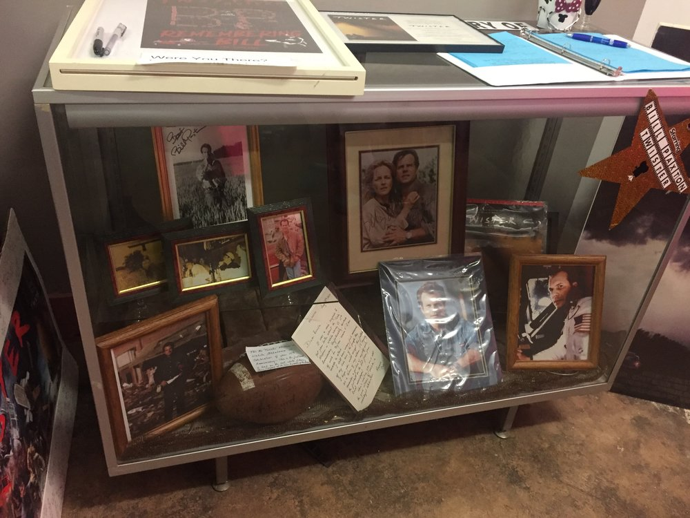 One of numerous display cases of film memorbilia inside the Twister Museum.