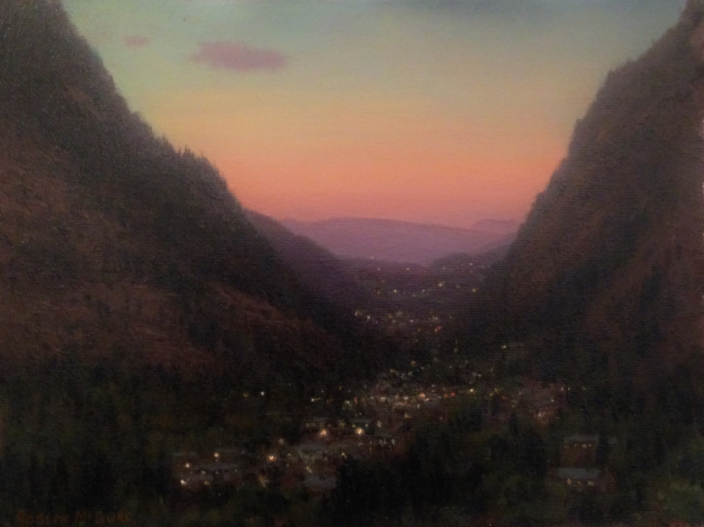 Plein Air, Twilight Comes to a Western Town