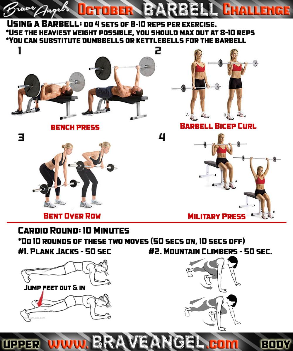 Upper Body Barbell Workout Warrior Girl Fitness