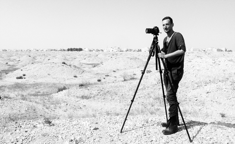 Filming with Hussain in the Burial mounds, Bahrain 2014