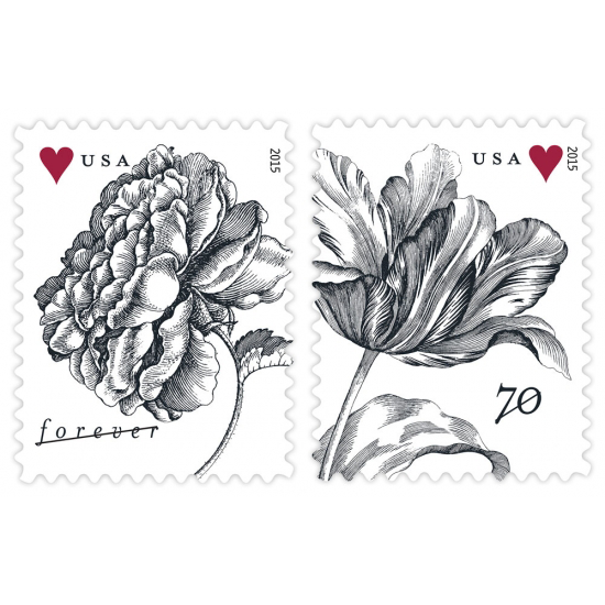 Vintage Rose Forever Stamp & Vintage Tulip 2 0z Wedding Stamp (2015 Release)
