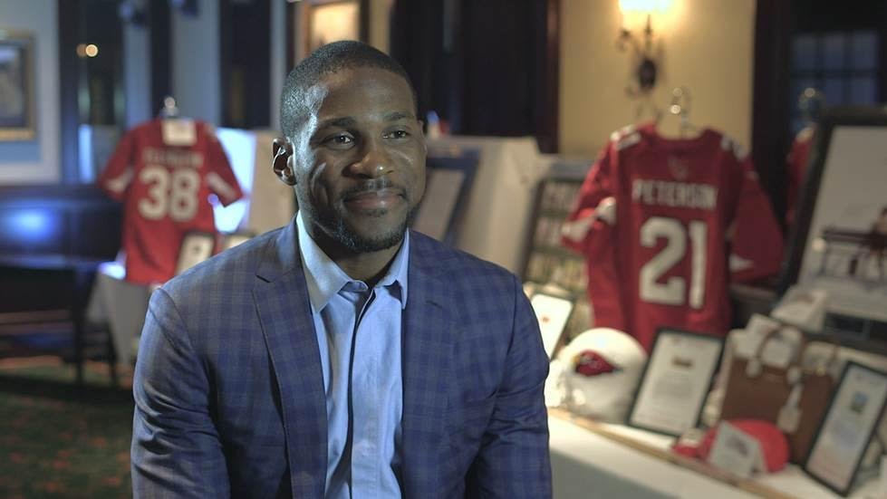 Quarterback, Patrick Peterson is ready for his close-up during the interview.