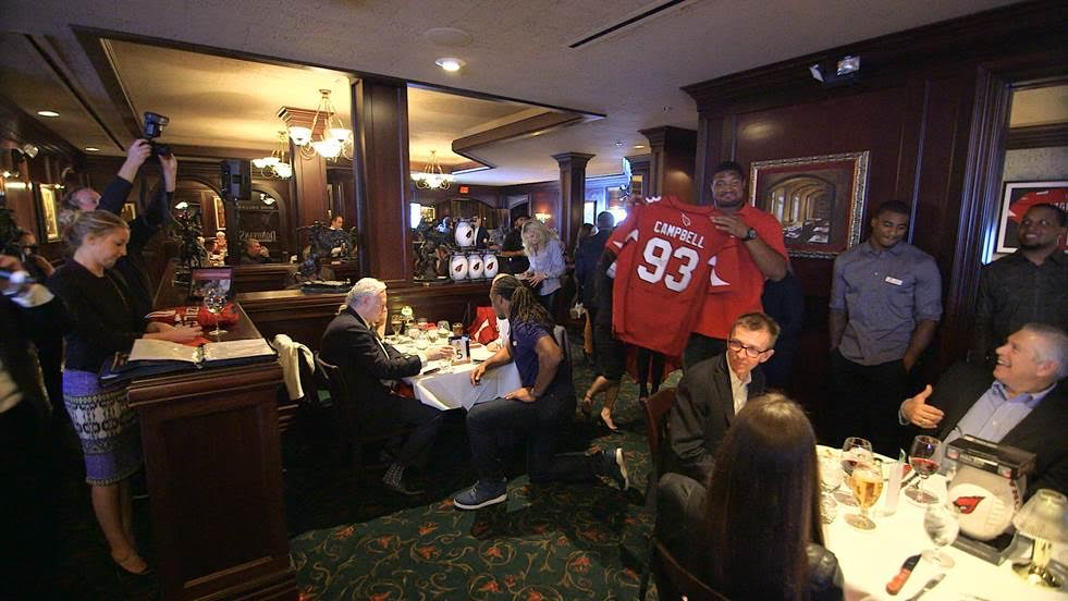 The players and media get together at steak house Donovan's in Phoenix, Arizona.
