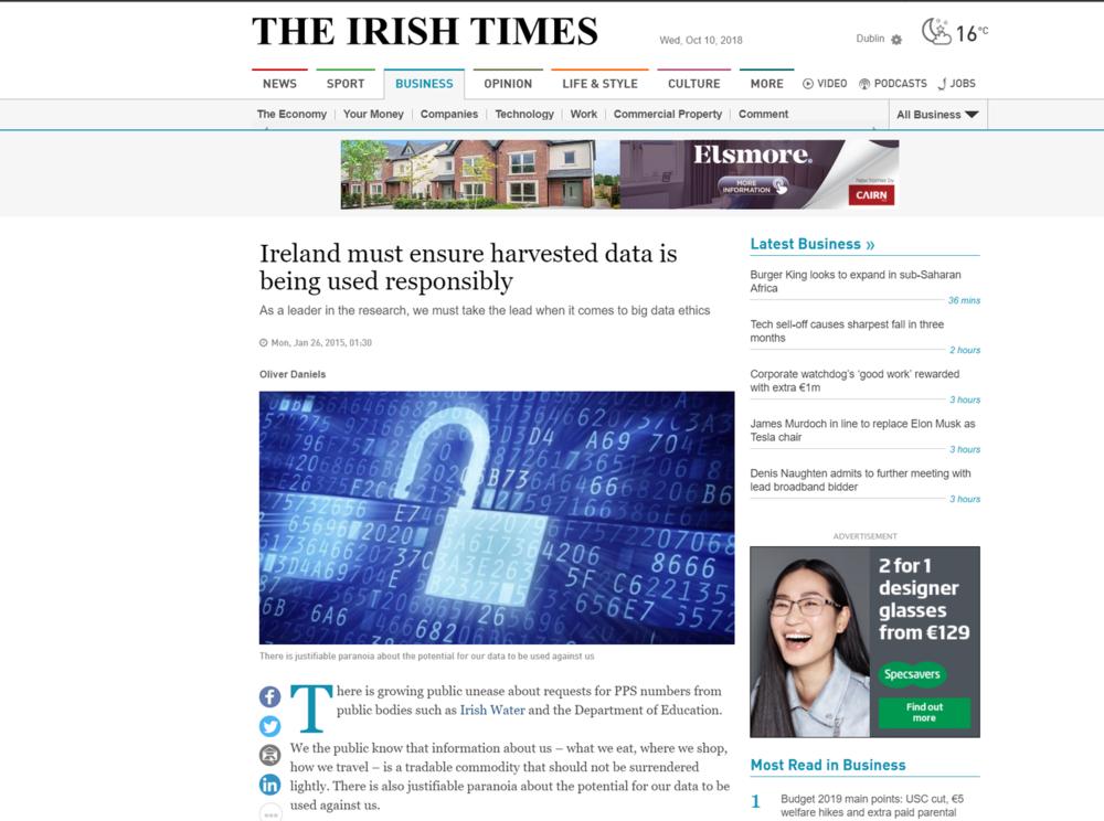 Oliver Daniels, Insight CEO. The Irish Times. January 2015