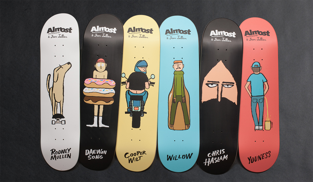 Almost Skateboards x Jean Jullien Guest Artist Series - Mullen-Daewon-Cooper-Haslam-Youness-Willow