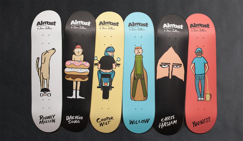 Almost Skateboards x Jean Jullien Guest Artist Series - Mullen-Daewon-Cooper-Haslam-Youness-Willow