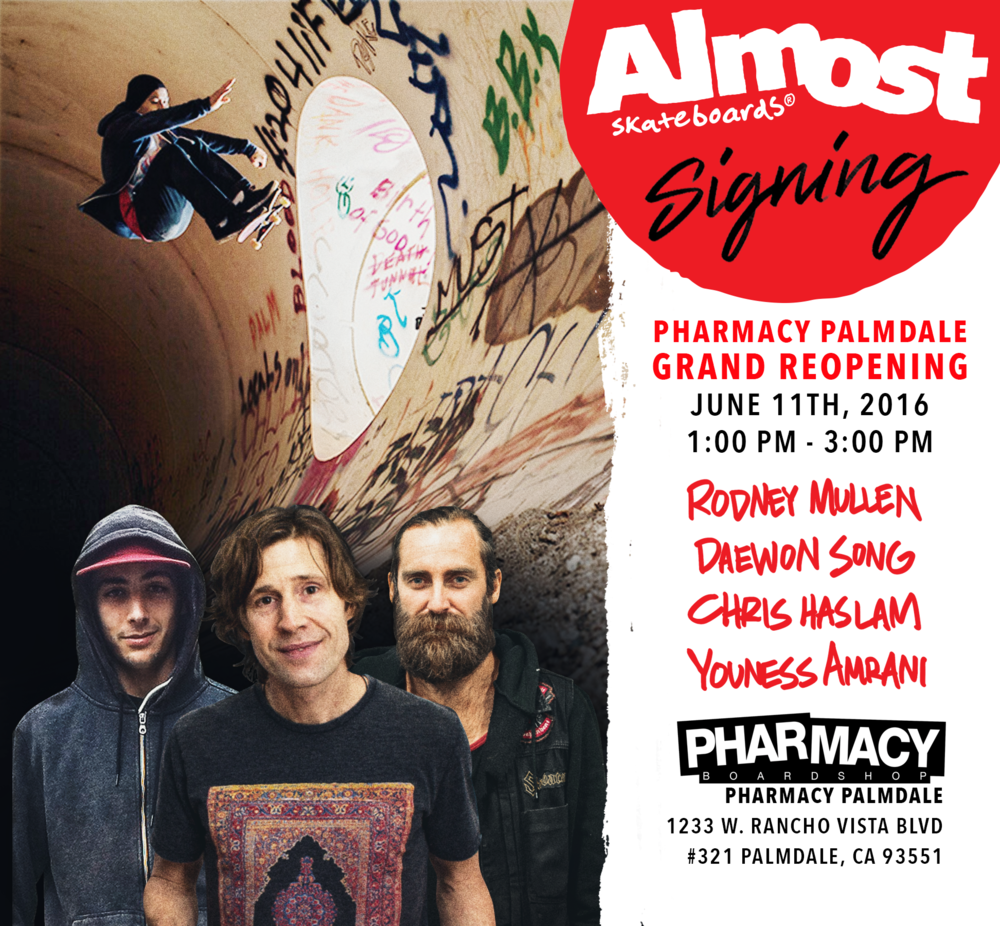almost skateboards pharmacy boardshop team signing