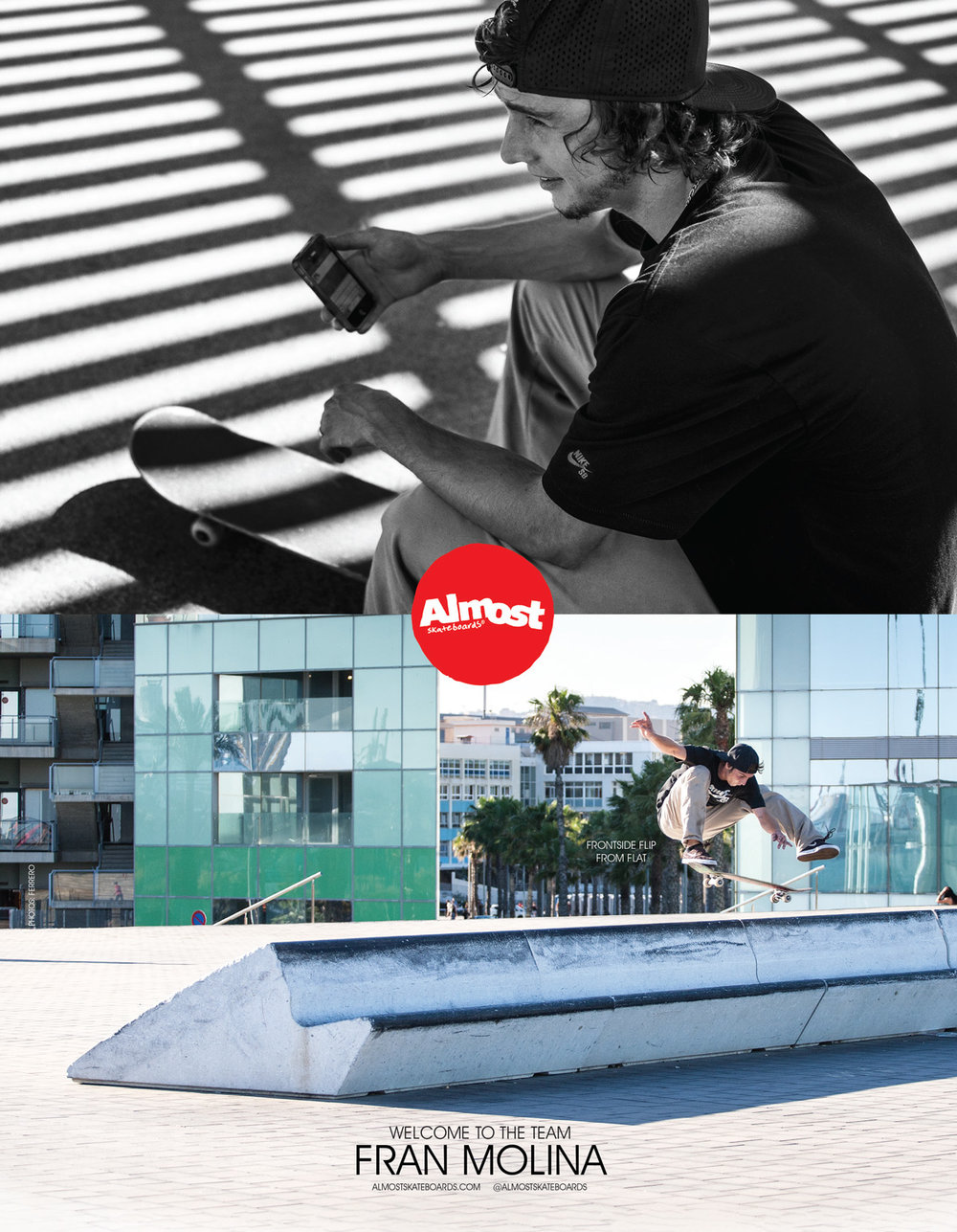 Almost Skateboards Bienvenido Fran Molina welcome ad thrasher magazine