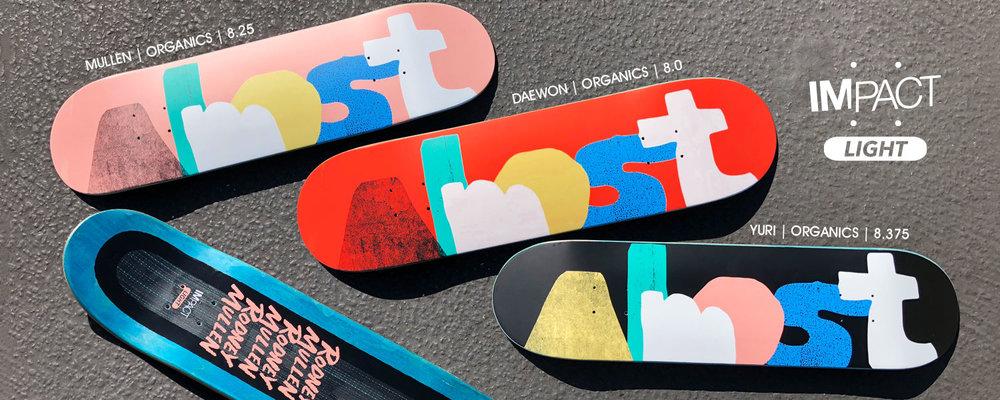 Almost Organics Impact Light Skateboard Deck Mullen Daewon Yuri