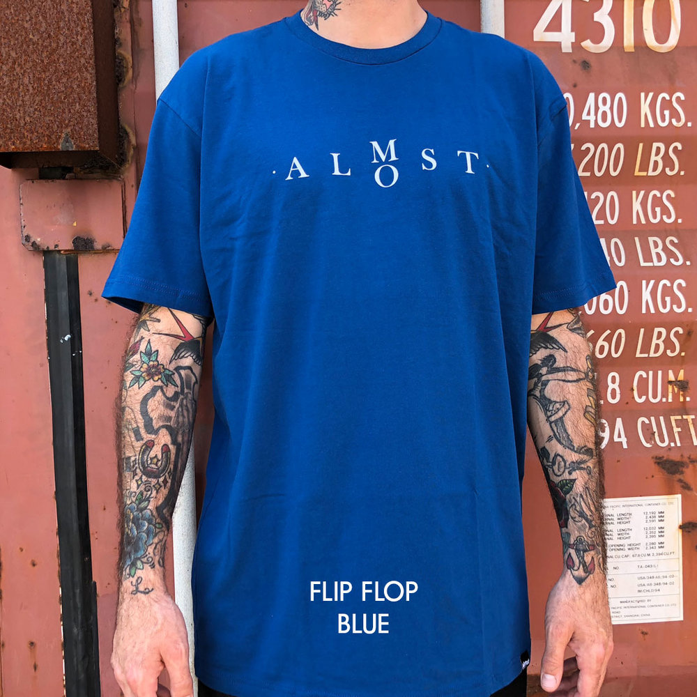 Almost_skateboards_tee_shirt_flip flop logo blue