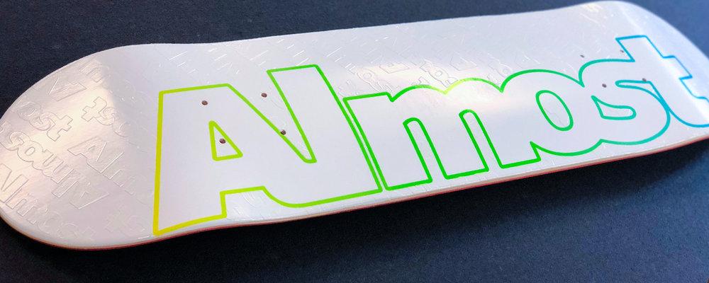 best skateboard in the world almost embossed logo