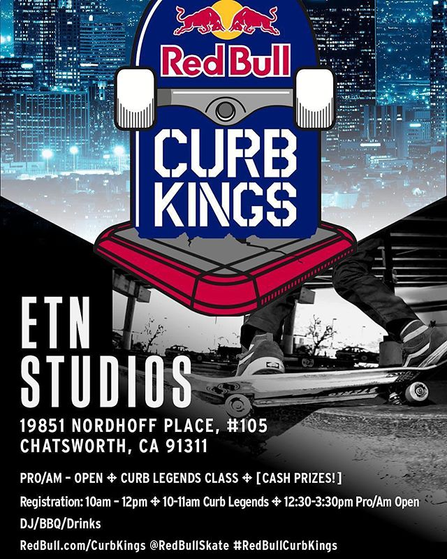#RedBullCurbKings tomorrow 11/17 @etn ! I'll be there trying to shred some curbs and see some savagery with @chrispastras @kidadams @beergut74 and many more — roll through if you can make it to Chatsworth or catch it on @etn 🤙 Link in bio for address and updated schedule-
