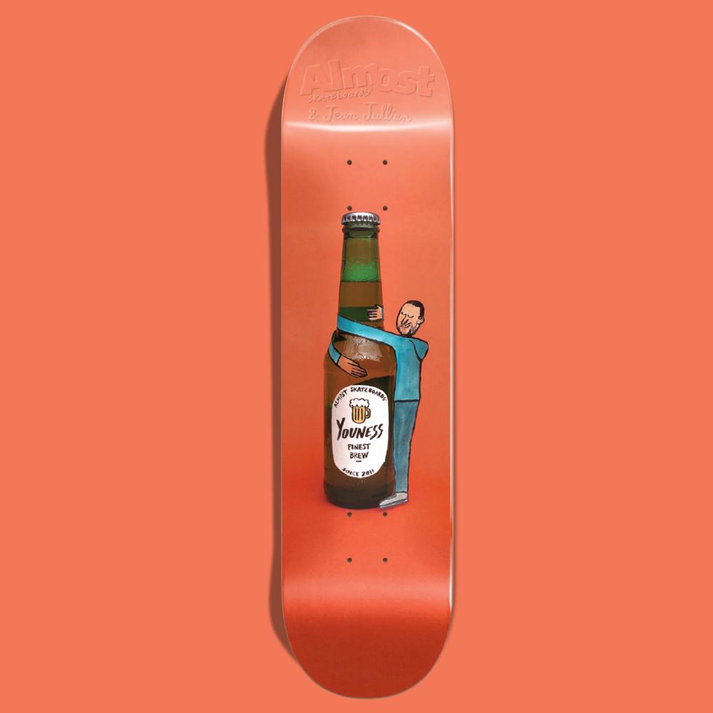 Almost Skateboards Youness amrani jean jullien beer hug deck