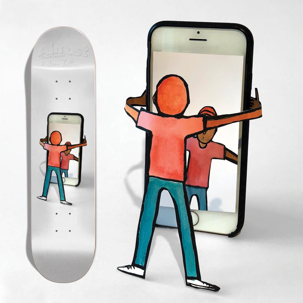 Almost Skateboards Jean Jullien cell phone iphone selfie deck skate