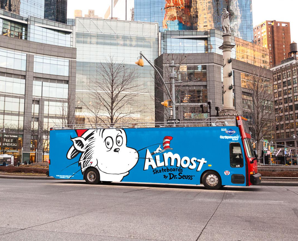 Almost skateboards by dr seuss collab bus ad