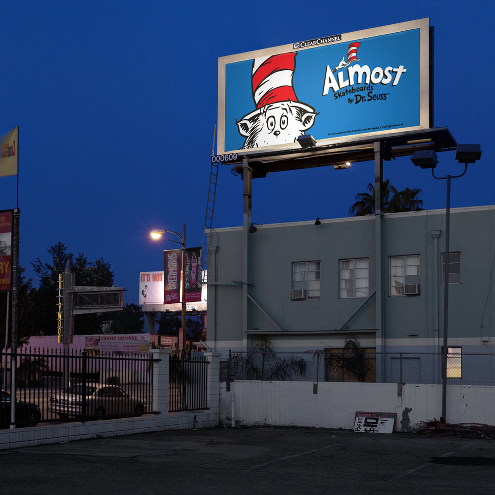 Almost skateboards by dr seuss collab night billboard