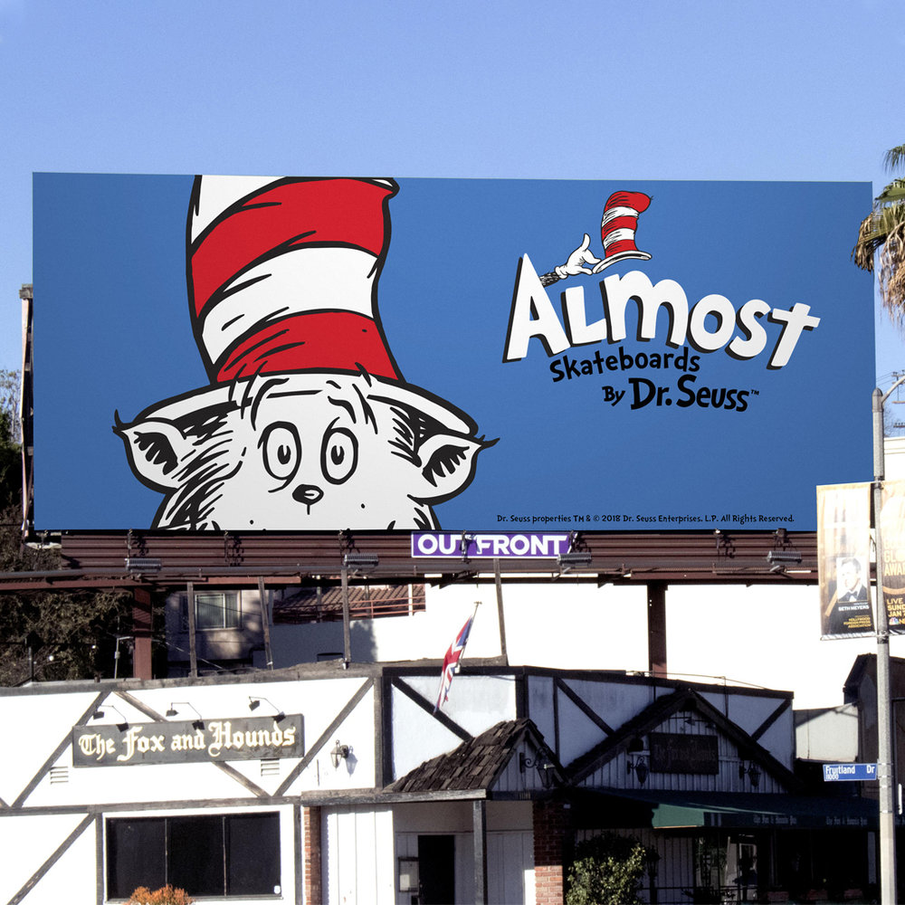 Almost skateboards by dr seuss collab billboard