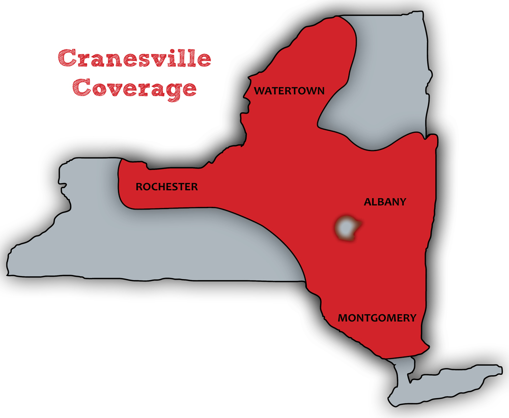 Cranesville delivers and pours concrete to a majority of Upstate New York. The territory ranges along the NYS Thruway (1-90) from the Hudson Valley (Newburgh, Kingston and Poughkeepsie) through the Capital Region (Albany, Schenectady and Troy) and west toward the Mohawk Valley, Utica, Syracuse and Rochester. CBC also supplies concrete to outlying areas including the North Country and the I-88 corridor.