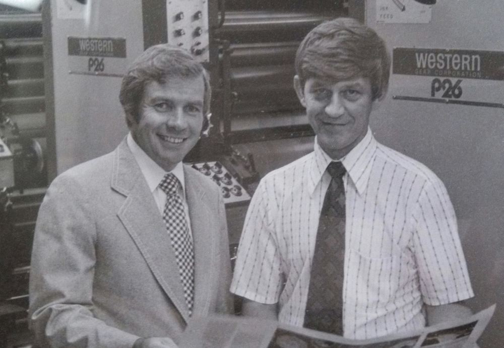 Founder, Gordon Lee (right), ca. 1973 with Frank Beddor of Printing Incorporated