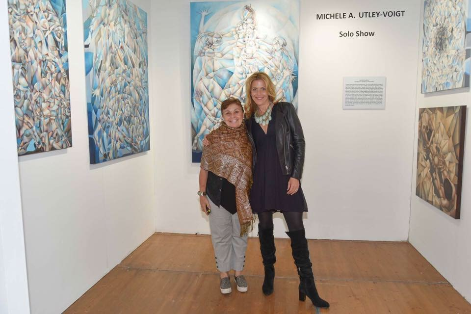 Michele with Curator Mariavelia Savino at Spectrum Miami Art Basel Solo Exhibition December 2016.