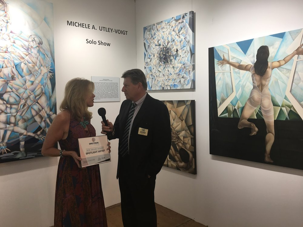 Michele receiving the Spotlight Artist Award at Spectrum Miami form Spectrum Managing Director Rick Barnett. December 2016
