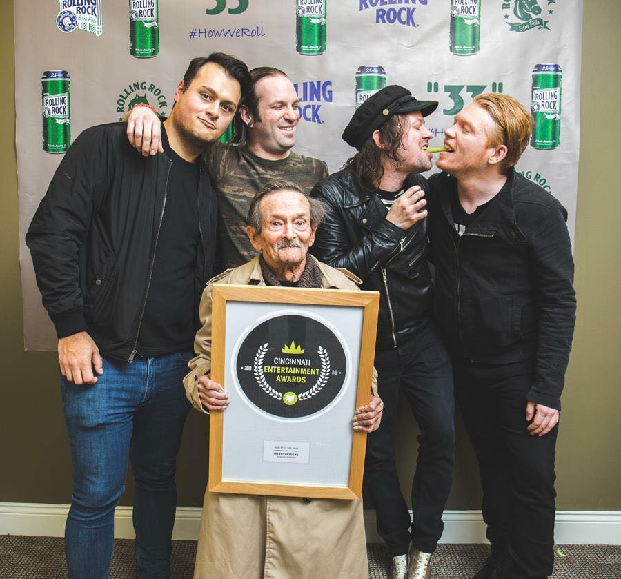 A big thank you to Mike Montgomery and our long time conspirator, Todd McHenry for helping us make an album we're proud of. Here we are (with Todd and Jeremy & Chris's dad, sans Cole) just winning the CEA for album of the year. Thanks Cincinnati CityBeat!