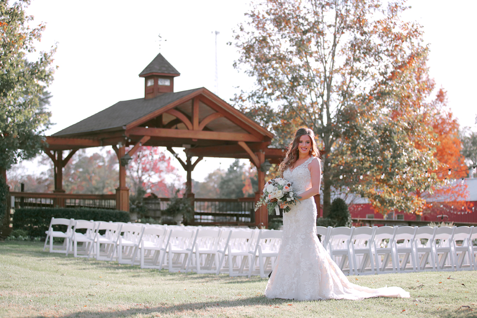Rachel Showing off our Beautiful Outdoor Ceremony Pavilion