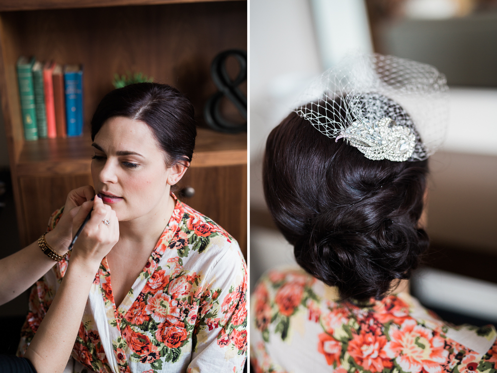 bride in floral robe with headpiece at the press hotel in portland maine