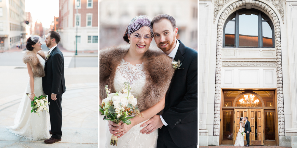 winter wedding bride and groom at the portland maine city hall and portland masonic temple