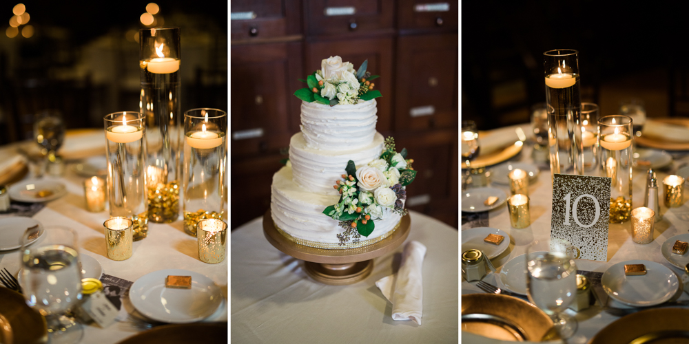 gold wedding table decorations at the masonic temple in portland maine