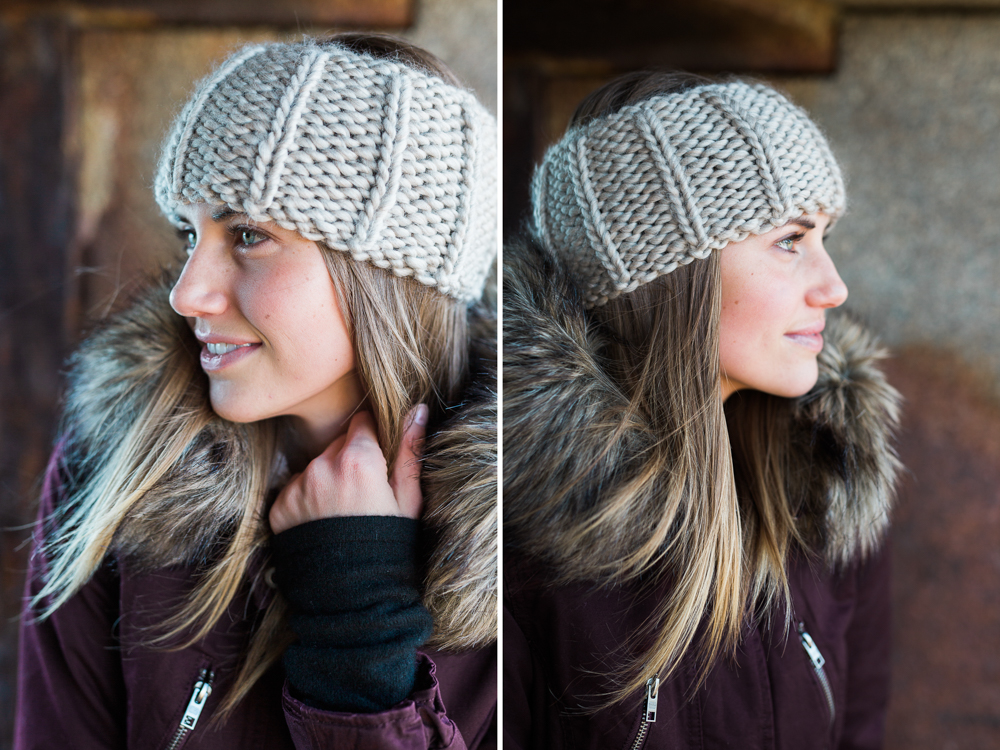 gray knit winter head band or ear warmer on model in south portland, maine
