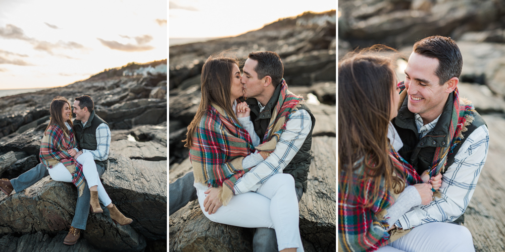 couple kissing at sunset at two lights park in cape elizabeth maine