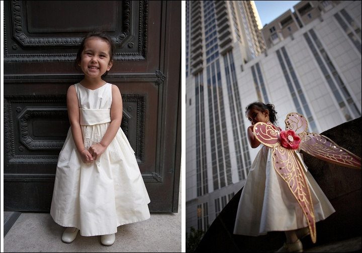 Wedding Photo 101: How to distract the Flower Girl. Queue The beautiful Wings.