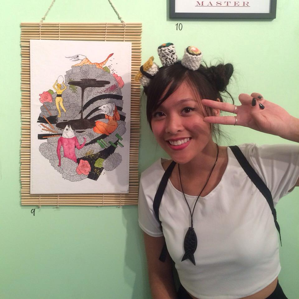 This was in a food-themed group exhibit at Glitter Milk Gallery. I also knit this sushi headband to wear to the opening!