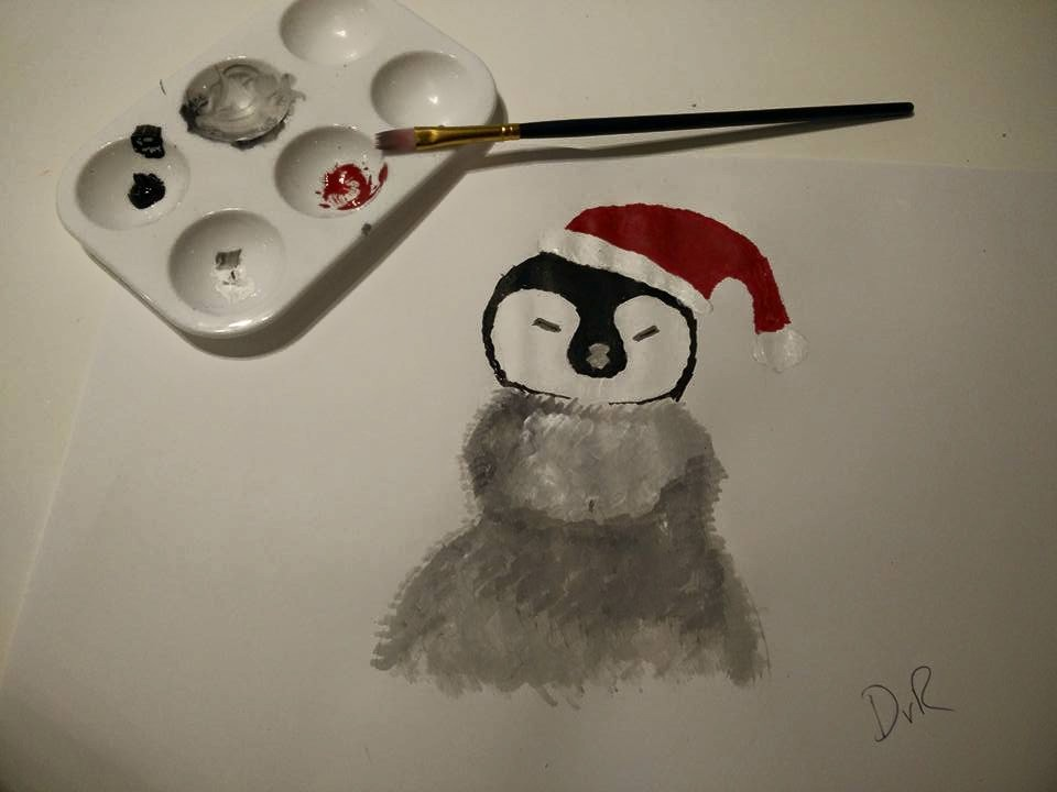 christmas penguin DvR Hampstead Mums acrylic