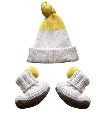 Petite Albion - Exclusive Light Grey & Yellow Baby Hat & Booties Set Bubblechops Hampstead Mums