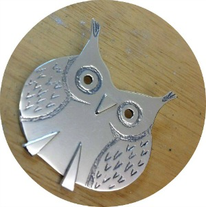 Silver owl made by Nicola Tallach