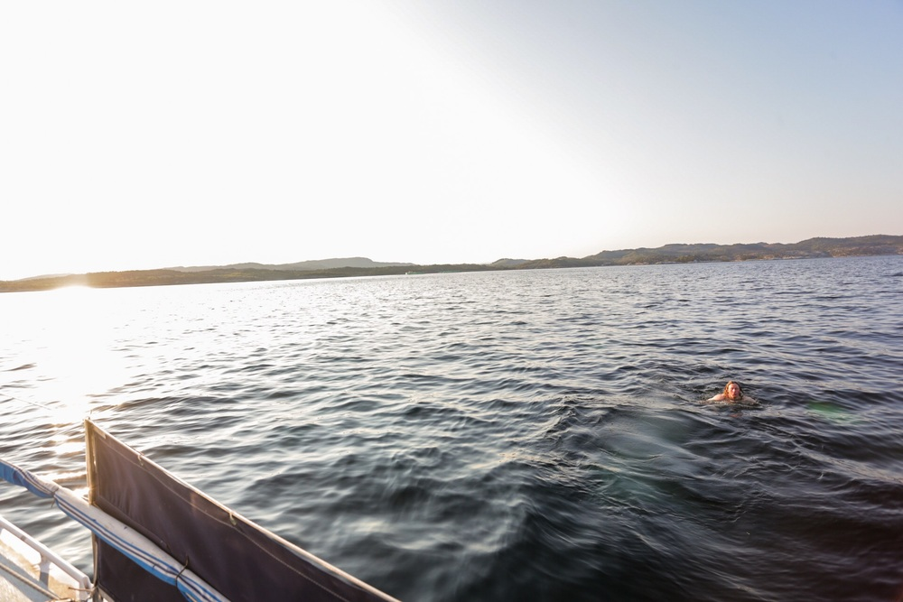 First swim on the trip!