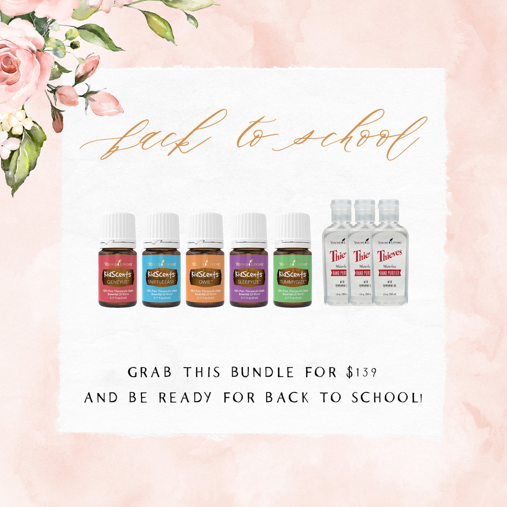 Back to school - The KidScents oils are perfect and prediluted for kiddos ages 2+! We love having them ready and on hand! And you can never have too much safe hand purifier!! GeneYus, SniffleEase, Owie, SleepyIze, TummyGize, and Hand Purifier are a great bundle to order!