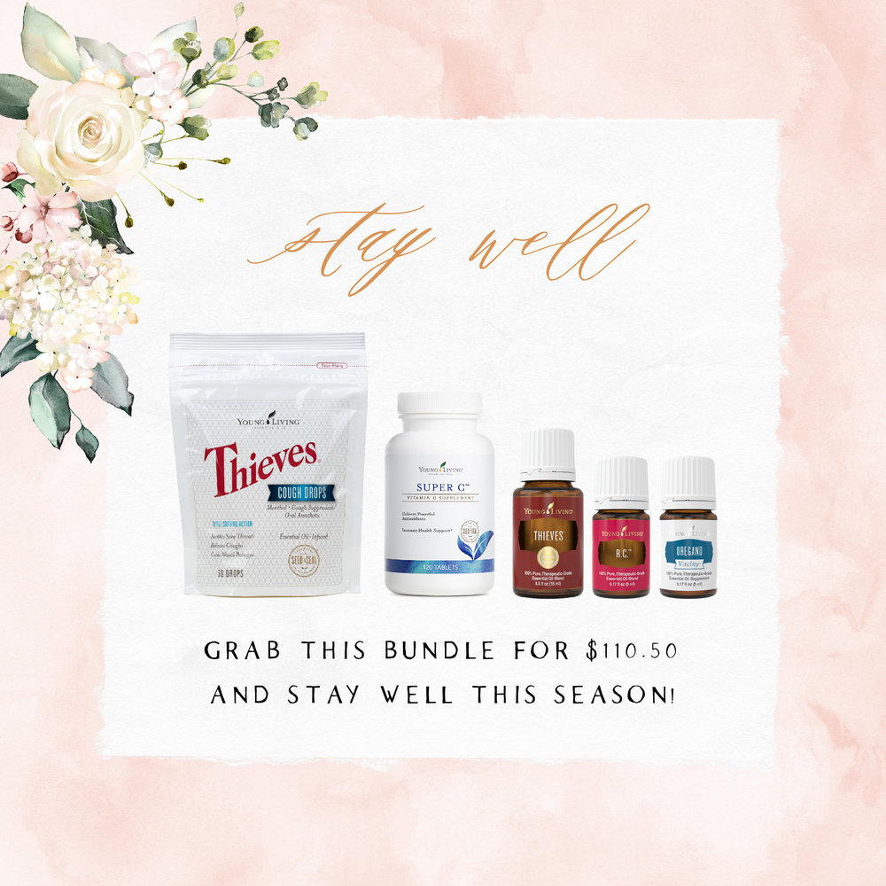Stay well - The icky season is coming up fast, don't be caught without these wellness supporting products!! Thieves Cough Drops, Super C, Thieves, R.C., and Oregano are must-haves!Tips: Roll Thieves on the bottom of your feet to support your immune system! Apply R.C. to your chest for lung support. Take Super C daily to combat the ickies. And Oregano Vitality to a capsule and take internally.