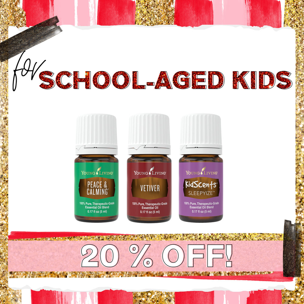 School-aged kids - + Peace & Calming - A gentle sweet blend with calming properties.+ Vetiver - This woodsy aroma is great for those who want to support focus.+ KidScents SleepyIze - A few drops in the diffuser to support sleeping littles.
