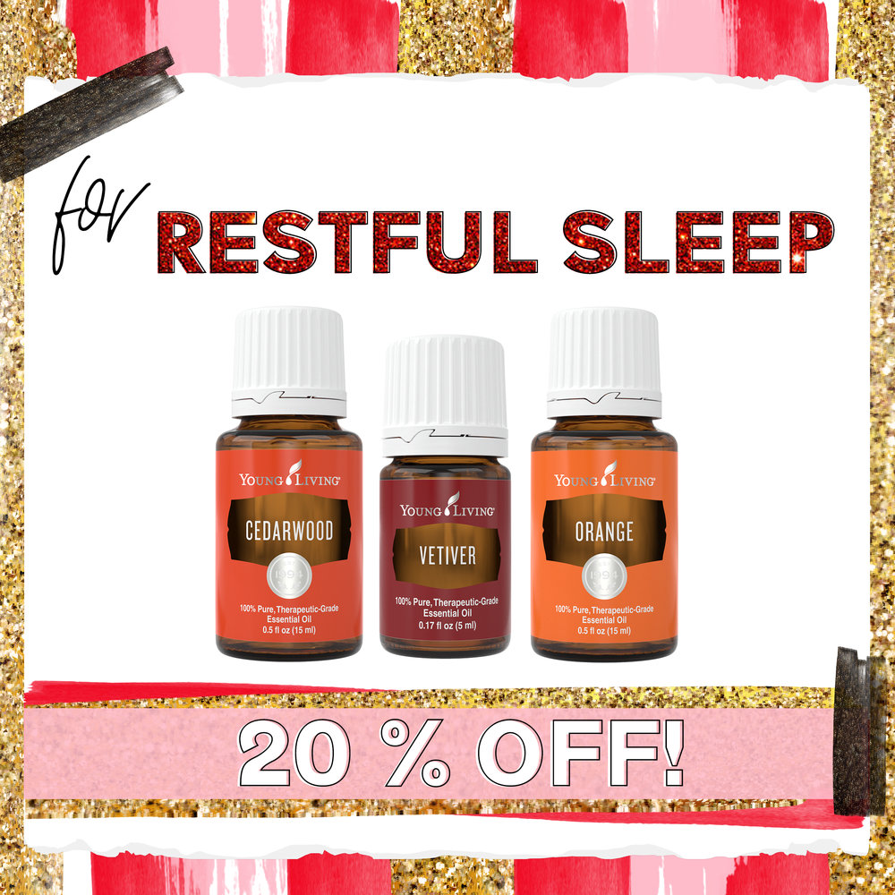 Restful Sleep - + Cedarwood - Calming, grounding, and wonderful for sleep. It supports the body's production of melatonin.+ Vetiver - Our choice for focus and calming. Use topically when your mind is racing and you need to settle down.+ Orange - This oil uplifts your mood, a must when trying to relax at night.