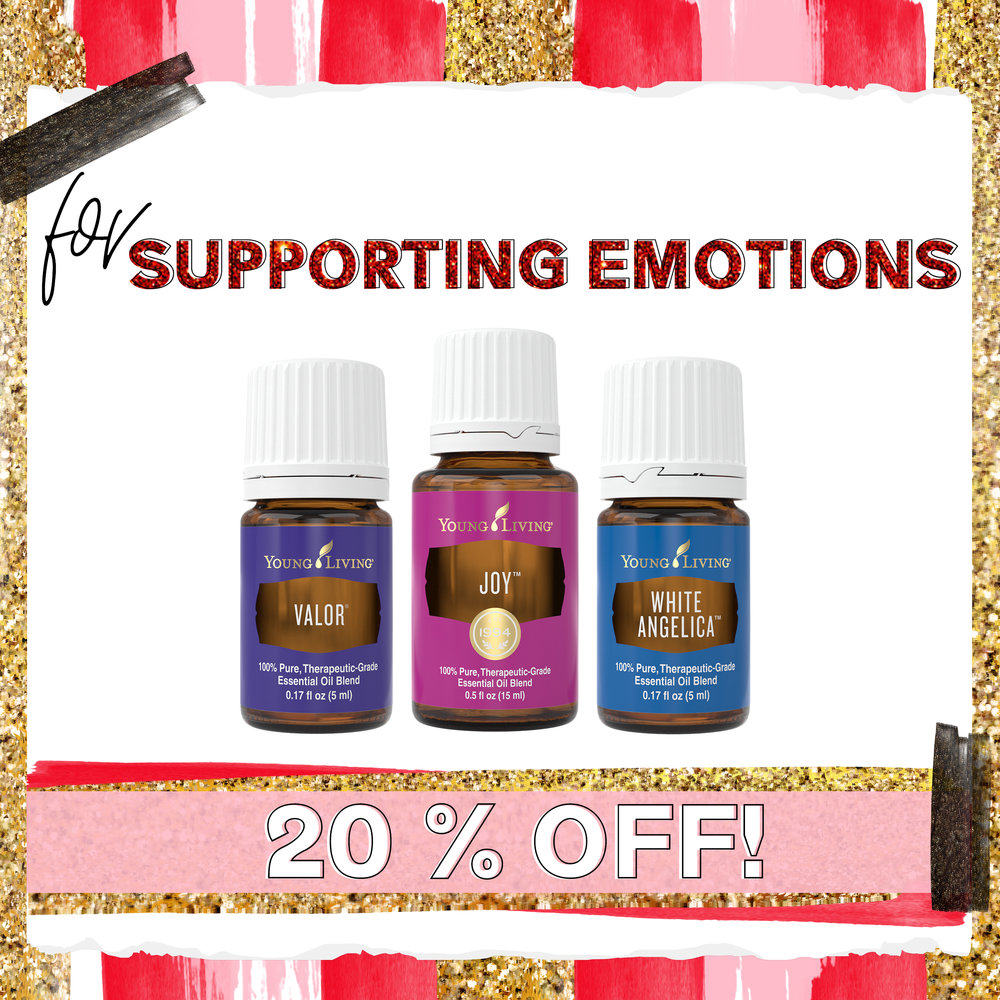 Supporting emotions - + Valor - It's a powerhouse when facing a trial or season of adversity. This is our bravery oil. Our courage oil.+ Joy - The number one favorite for focusing on truly releasing sadness.+ White Angelica - The companion of those struggling to rest peacefully. An emotional support and release for grief.