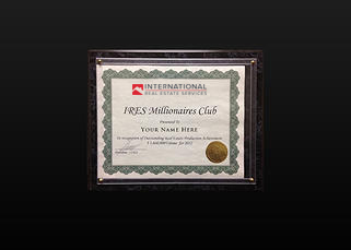 IRES® MILLION DOLLARS CLUB   Award is given monthly to an IRES® associate or team consisting of more than three individuals with a minimum of $1,000,000 of closed production in a given month.