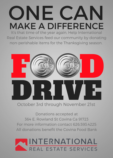 It's that time of the year again, Help International Real Estate Services feed our community by donating non-perishable items for the Thanksgiving season. All donations will benefit the Covina Food bank. For more information please contact us at 626-593-4225