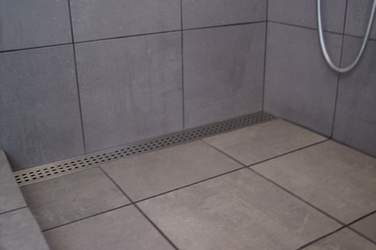 This Shower Has A Custom Stainless Steel Shower Pan And A Trough Drain