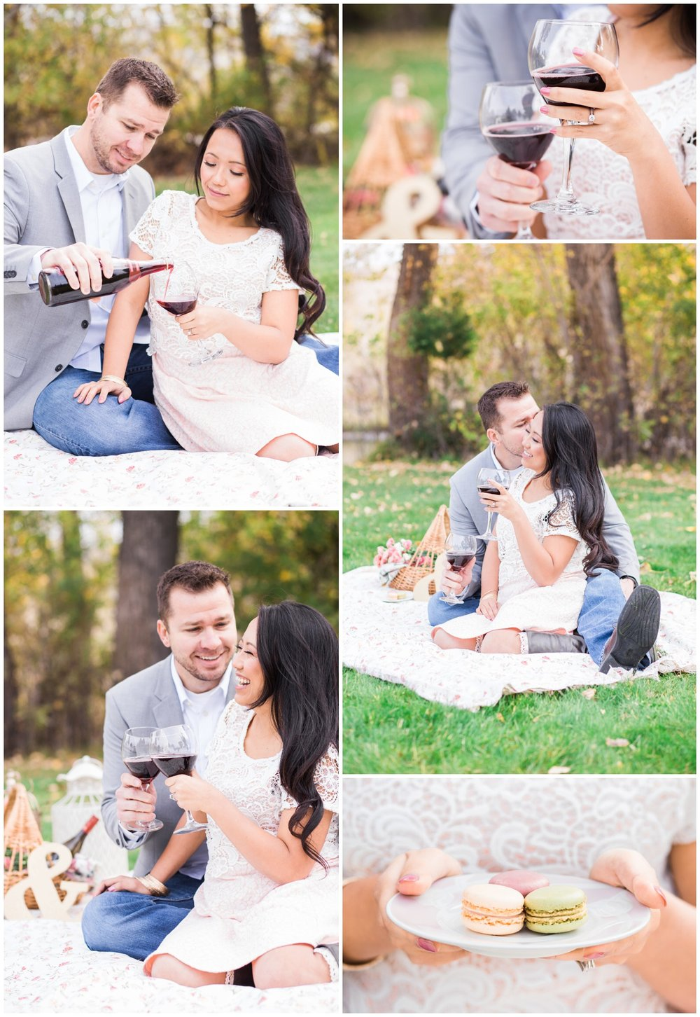 Young couple engagement photos, picnic theme, wine, macarons