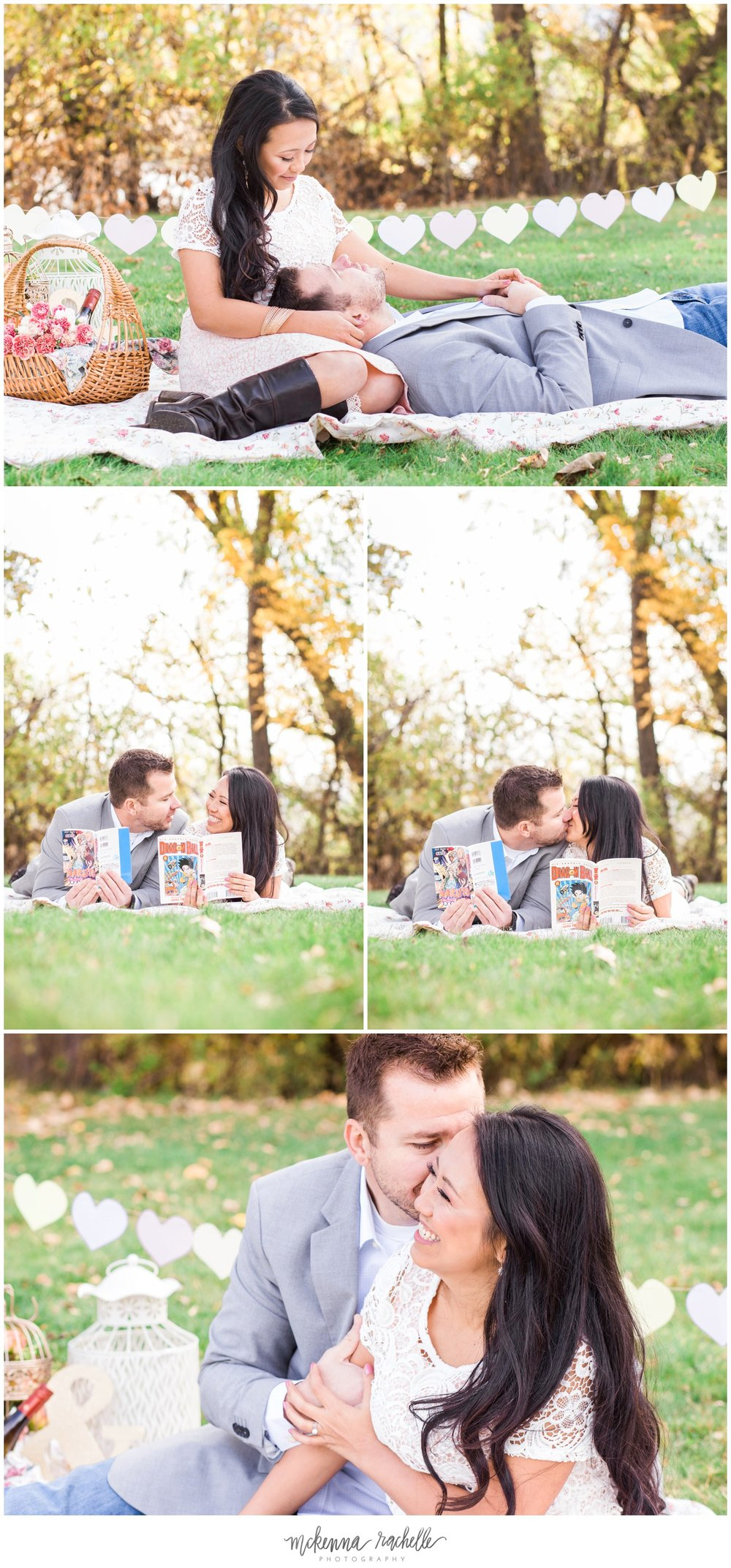 Engagement session, morning picnic and comic books with Pacific Northwest photographer