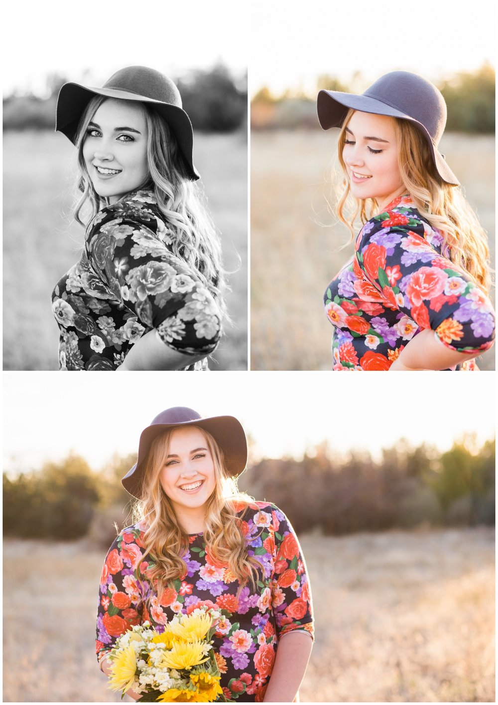 Late Summer senior portraits in floral dress and floppy hat