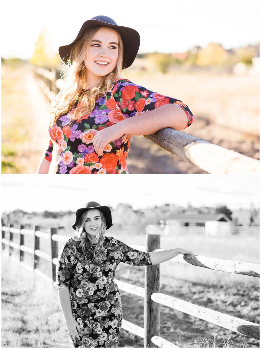 Country senior session in front of barn and fence with Oregon photographer